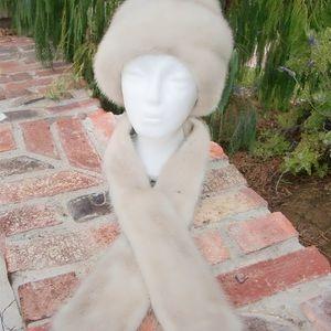 Pretty Silver Mink Fur Hat Scarf Vintage Imported